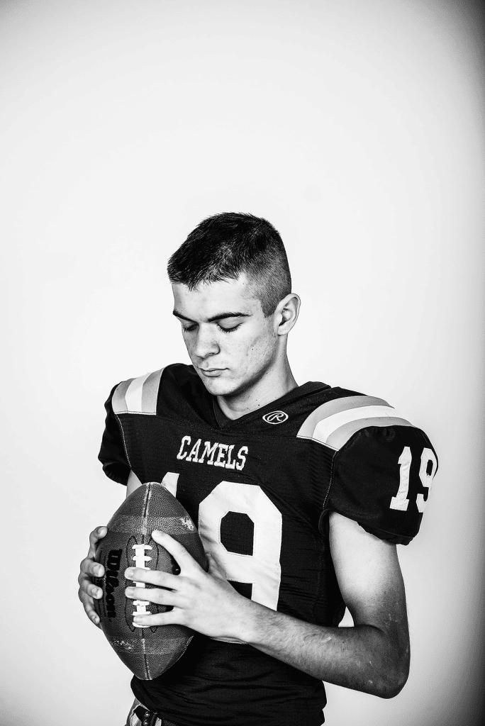 football jersey senior portrait