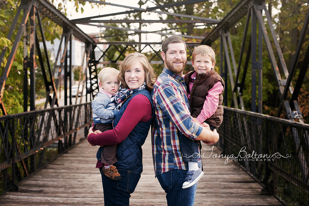 family portrait on the bridge