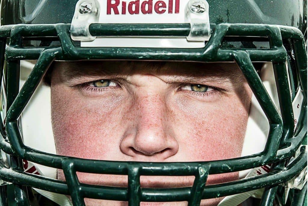 football helmet pose